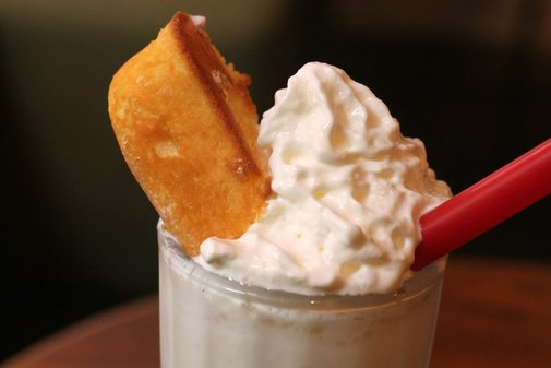 The yellow snack cake is back... with a vengeance.  Check out the spiked Twinkie milkshake. | Food Republic