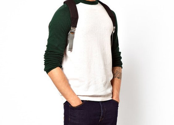 Crew Neck Sweater with Contrast Sleeves