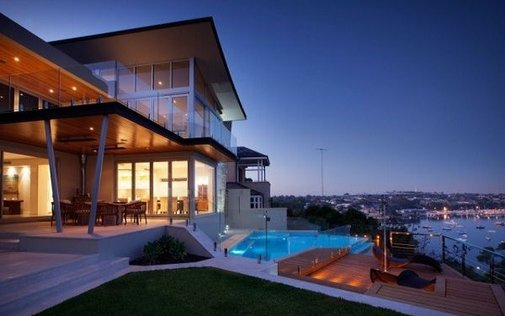 Beautiful view from terrace dwelling with contemporary style architecture