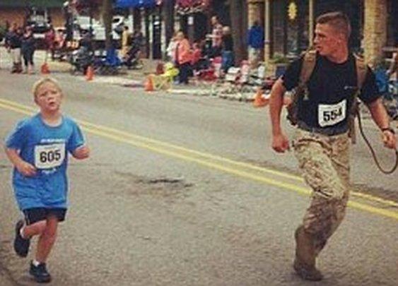 Marine Helps Boy Finish 5K