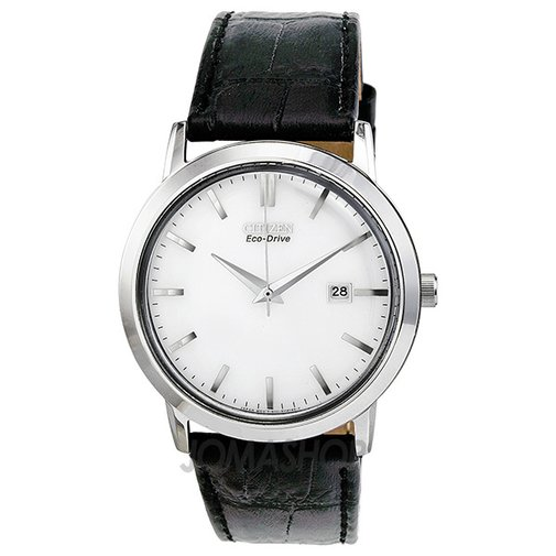 Citizen Eco-Drive Silver Dial Stainless Steel Black Leather Mens Watch BM7190-05A