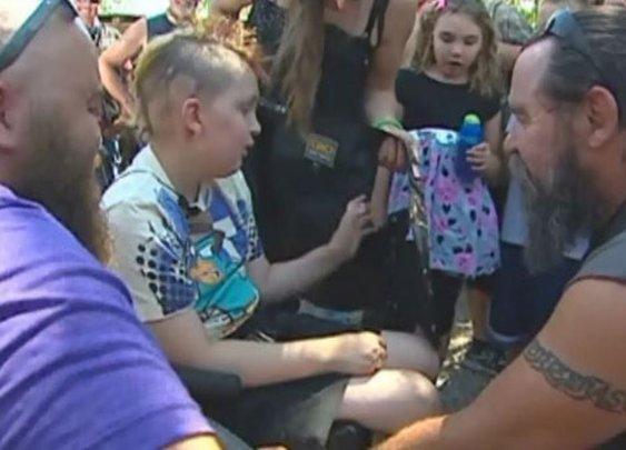 Bikers help child with brain cancer celebrate birthday