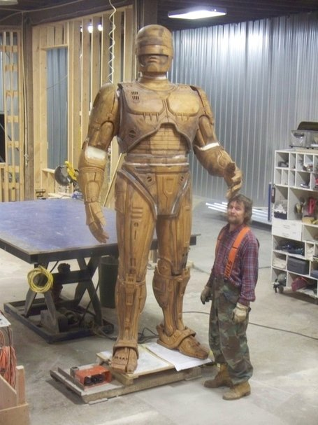 See a prototype of Detroit's ten-foot-tall RoboCop statue before it's cast in bronze