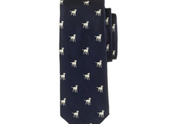 Silk Tie With Embroidered Labradors