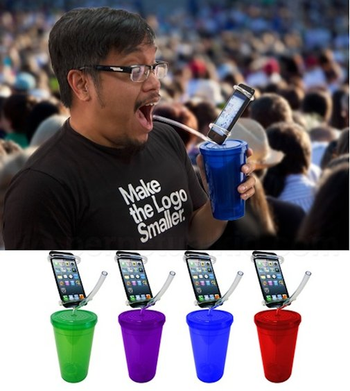 Cell phone holder party cups: for those who can't look away from their phones long enough to have a drink