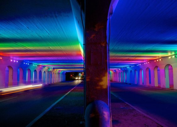 Thousands of LED Lights Bring an Abandoned Underpass to Life