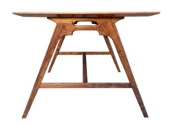Modern Walnut Writing or Drafting Desk
