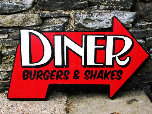 The Deadraven Diner Hand-Painted Sign