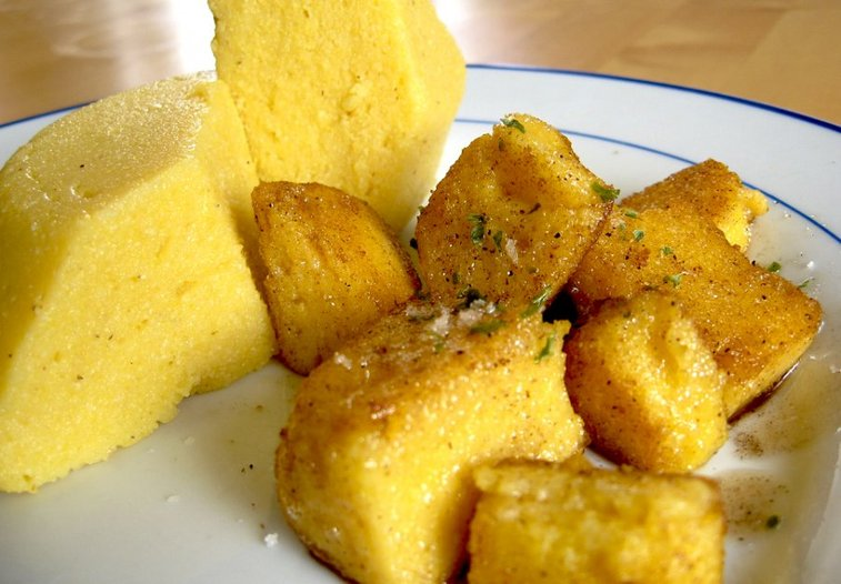 Learn how to make baked polenta croutons for your next salad! | Food Republic