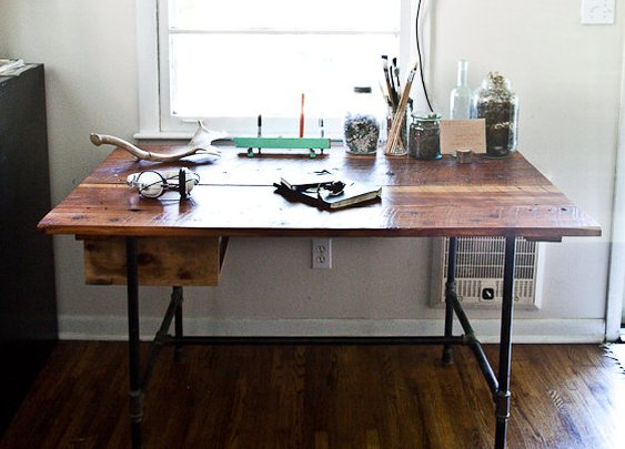 Aged Reclaimed Tennessee Cedar Desk with Steel by MastdonJones