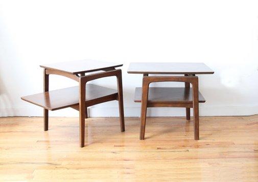 Pair Modern Wooden Side Tables by GallivantingGirls