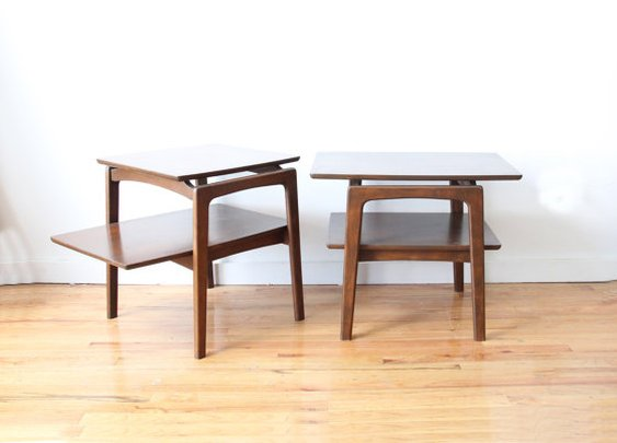 Pair Modern Wooden Side Tables by GallivantingGirls