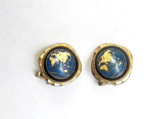 Vintage retro 1960s gold tone world globe cuff links by evaelena
