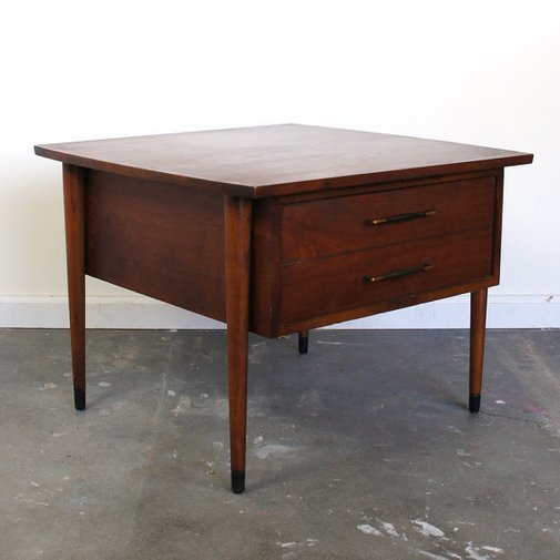 Mid Century Modern Wooden Side Table with Drawer by SPUNKvtg