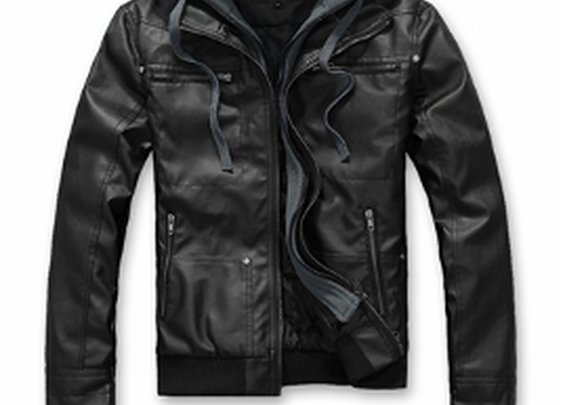 Men's PU Leather Jacket with Removable Hood $59.95.
