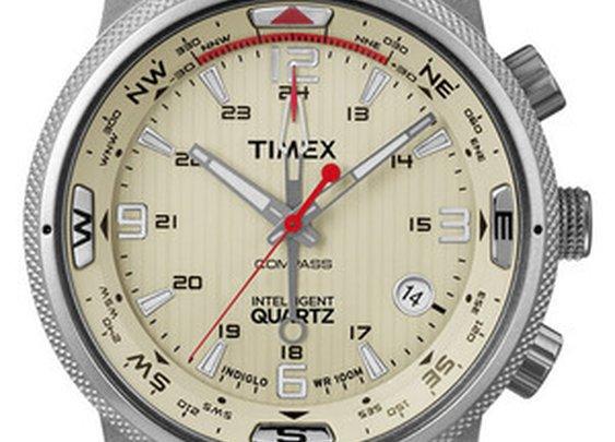 'Intelligent Quartz' Leather Strap Compass Watch
