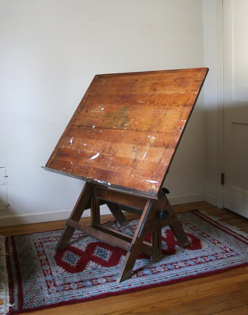 Antique Drawing Drafting Table by KarenCKramer