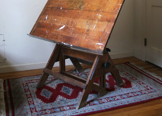 Antique Drawing Drafting Table by KarenCKramer
