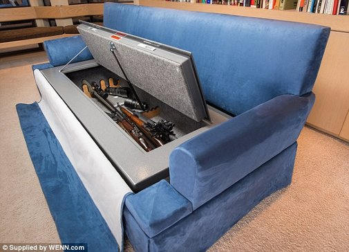 Bullet-proof COUCH stores 30 guns inside
