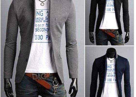 Men's 2-Tone Mandarin Collar Slim Casual Blazer