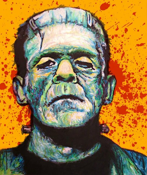 Frankenstein Pop Art Print  11x14 Halloween by ARTWORKbyMALLORY