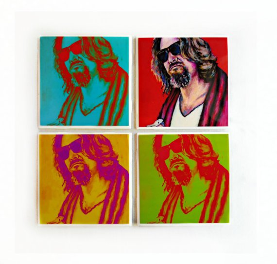 The Big Lebowski Coaster Set  Set of 4 The by ARTWORKbyMALLORY