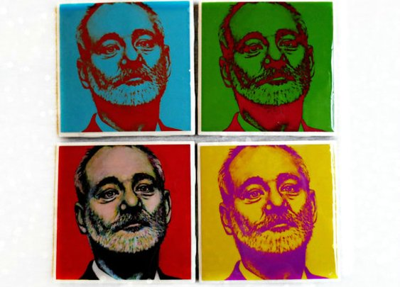 Bill Murray Pop Art Coaster Set  Set of 4 Pop by ARTWORKbyMALLORY