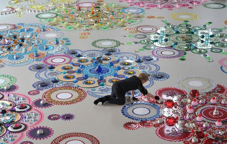 suzan drummen: kaleidoscopic crystal floor installations