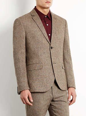 Camel Plain Skinny Suit Jacket