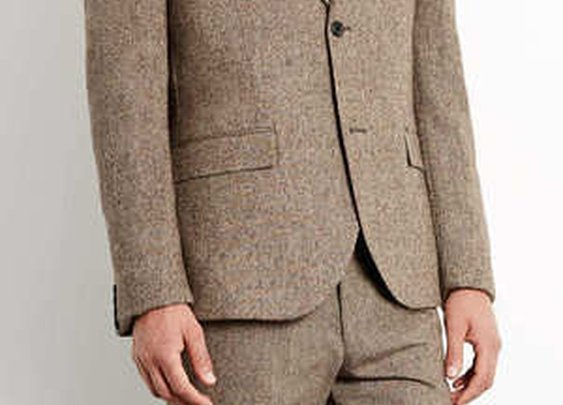 Camel Plain Skinny Suit Jacket
