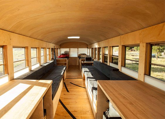 Student Converts Bus into Comfy Mobile Home
