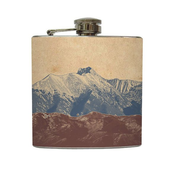 Mountain Landscape Whiskey Flask