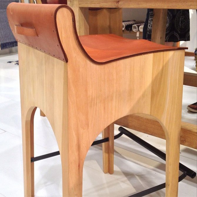 Leather Bar Stool at Lostine Home  NY Now Gift Fair | Apartment Therapy