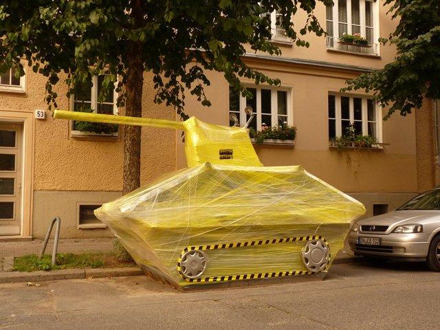 Guerilla Street Artists Make Cling Wrap Sculptures in Berlin