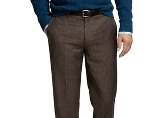 Madison Fit Plain-Front Tic with Rust Deco Trousers