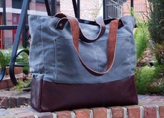 Charcoal Waxed Canvas Work Bag