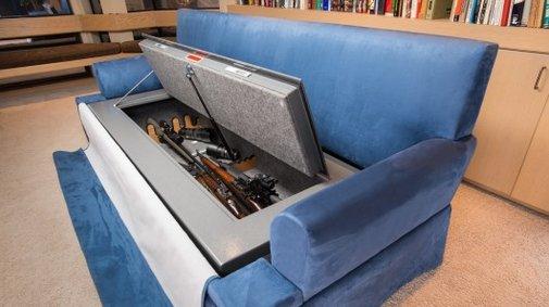 CouchBunker conceals a gun safe beneath bullet-resistant cushions
