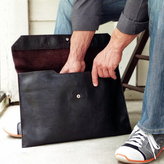 Handmade Leather Laptop Sleeve Case with Back by SivaniAccessories
