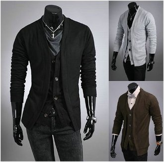 Men's Layered Look Button-Up Cardigan