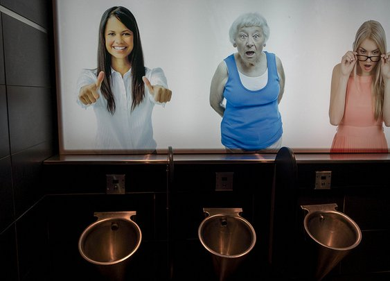 Photos of Women Above Urinals Reacting To Men Using the Bathroom | Flickr - Photo Sharing!