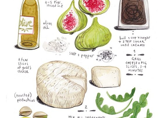 Fig and Goat Cheese Salad. Illustrated.