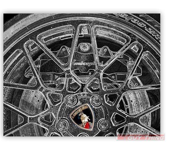 Lamborghini Car Art Black and White Photograph 8x10 by GuyThing