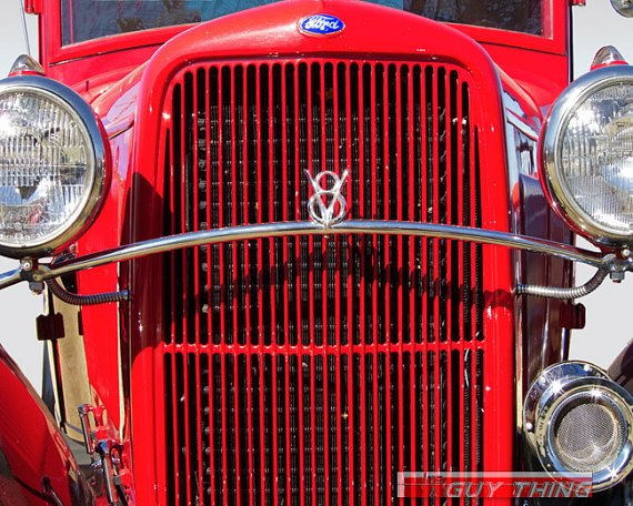 Red Car Photo Ford V8 Vintage Car Art Classic Cars by GuyThing