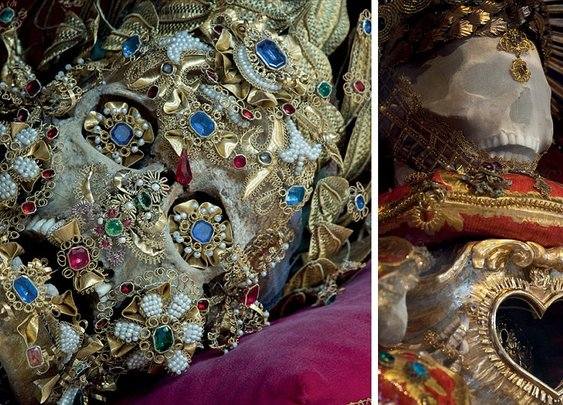Incredible skeletal remains of 'Catholic saints' that are still dripping in gems and jewellery and have now been dug up by 'Indiana Bones' explorer  |