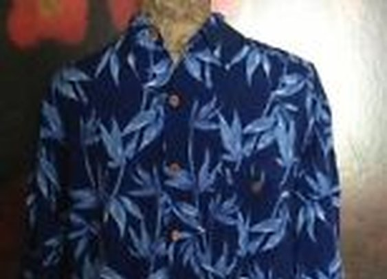 Puritan Hawaiian Style Shirt Large 42 44 Coconut Buttons Front Pocket Blue | eBay