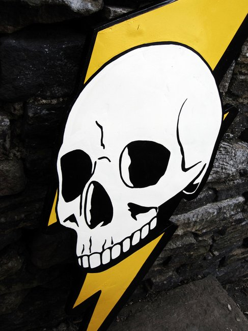 DEADRAVEN Manufacturing Co. | Deadraven Skull & Lightning Bolt. Enamel on...