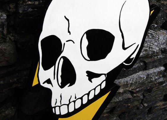 DEADRAVEN Manufacturing Co. | Deadraven Skull & Lightning Bolt. Enamel on...