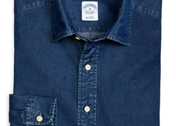 Slim Fit Spread Collar Denim Sport Shirt