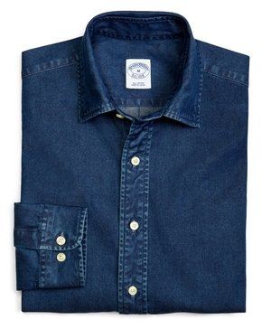 Slim Fit Spread Collar Denim Sport Shirt