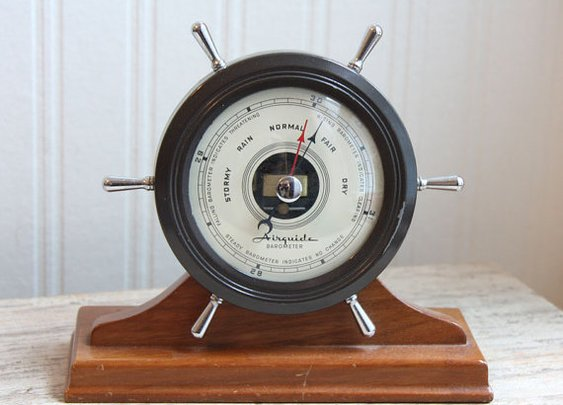 Airguide Barometer Vintage Barometer Nautical Mid by MollyFinds